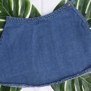 Denim Circle Skirt with Zipper Back